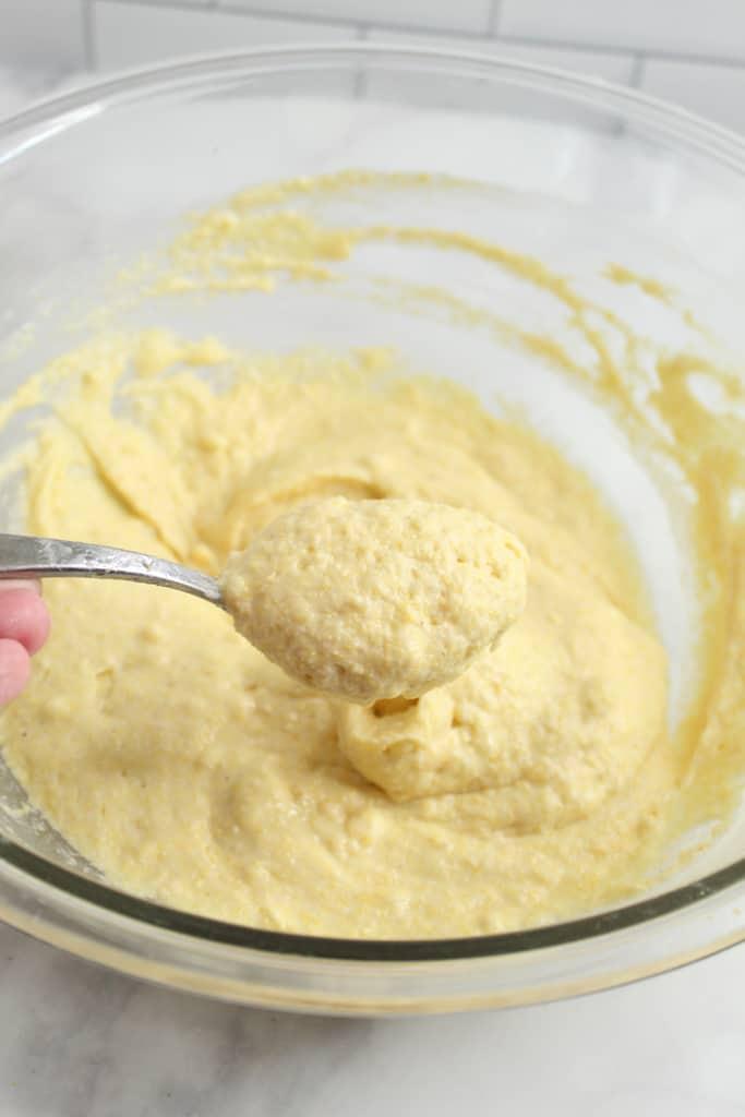 gluten free cornbread batter in a bowl