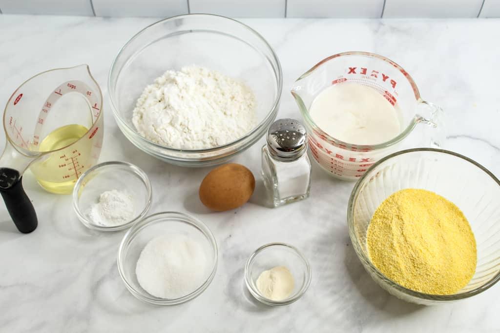 gluten free cornbread ingredients on a counter