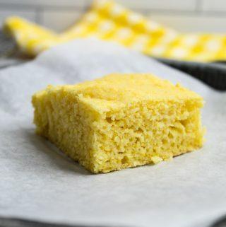 gluten free cornbread slice up close