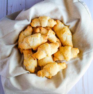 Gluten free crescent rolls in a serving basket