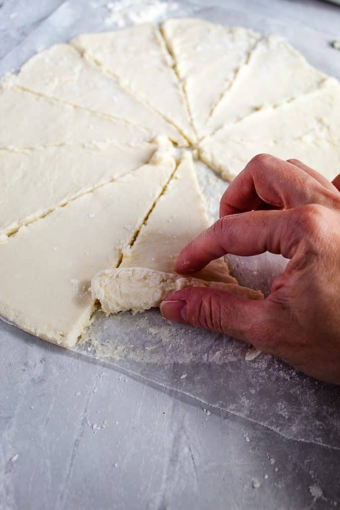 Rolling up gluten free crescent rolls