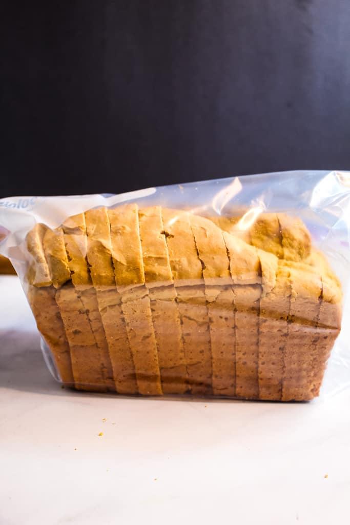 gluten free sandwich bead in a storage bag