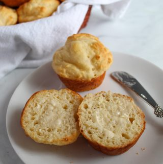 gluten free yeast rolls ready in under an hour sliced on a plate