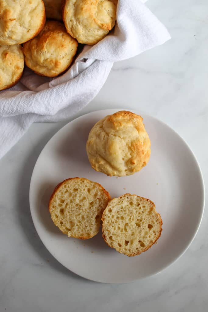 gluten free yeast rolls ready in under an hour served on a white plate