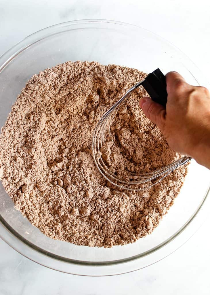 gluten free chocolate biscuit dry mix in a bowl.