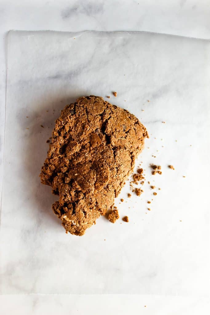 gluten free chocolate biscuits dough on a white counter.