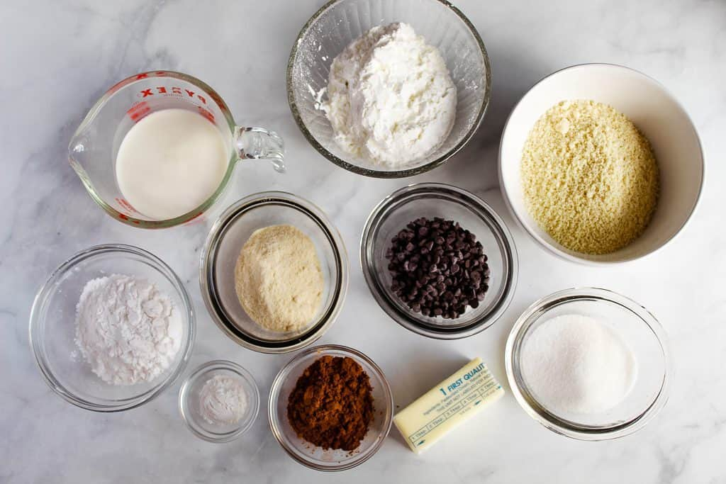 gluten free chocolate biscuits ingredients on a white counter