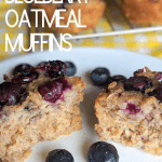 gluten free blueberry oatmeal muffins on a white plate.