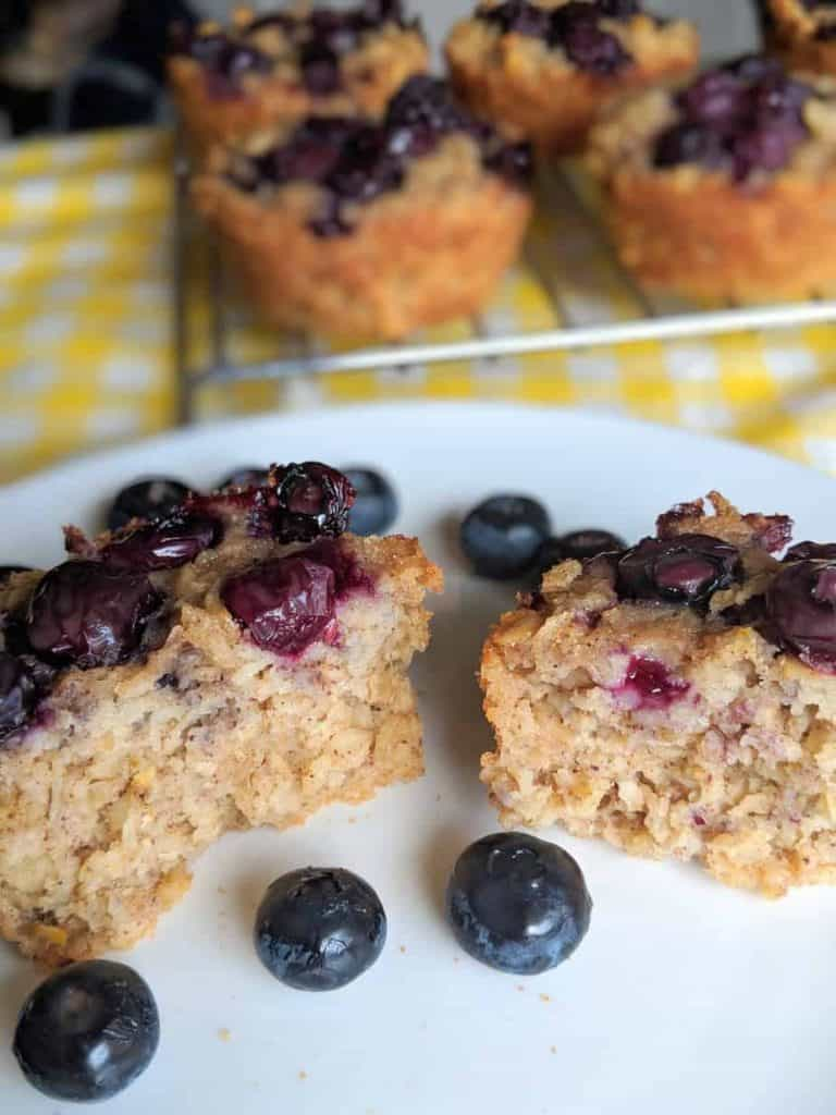gluten free blueberry oatmeal muffins inside