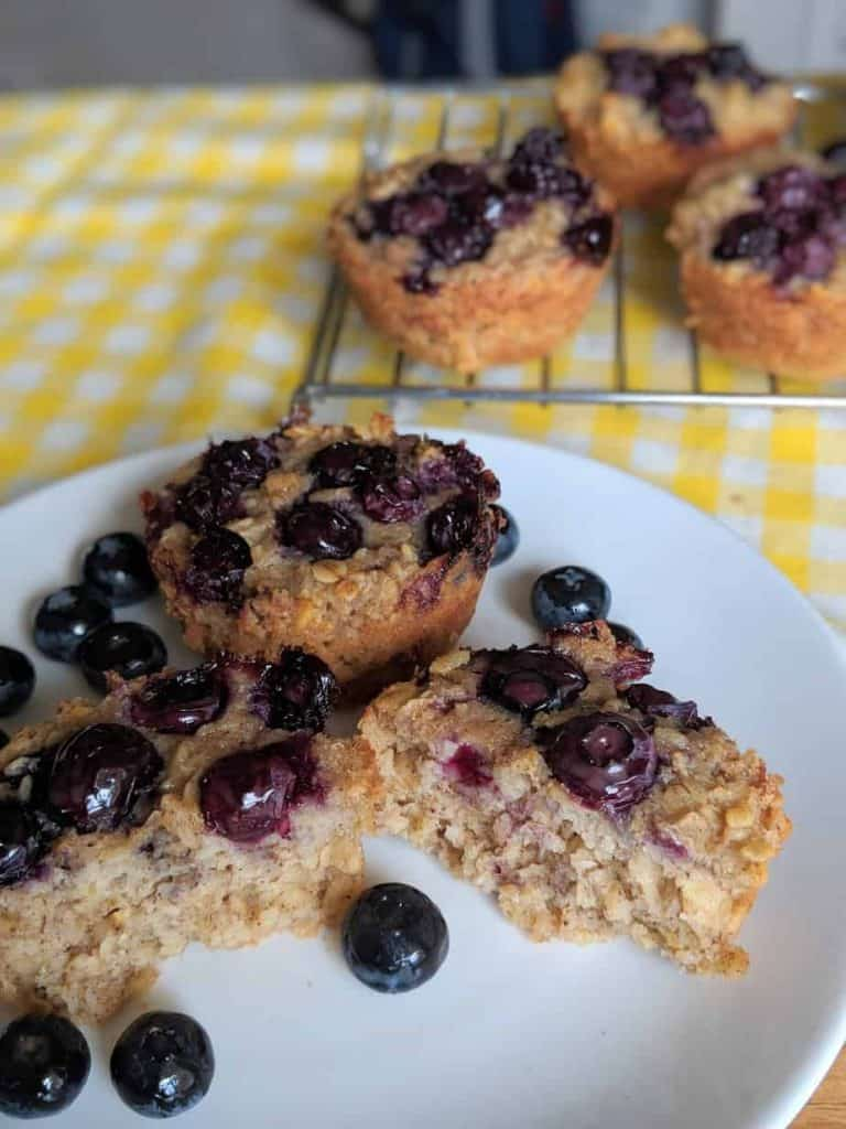 gluten free blueberry oatmeal muffins ready to eat