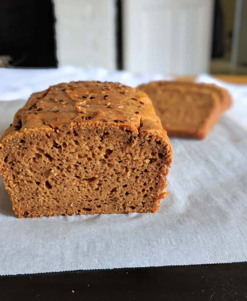 gluten free dairy free brown bread inside