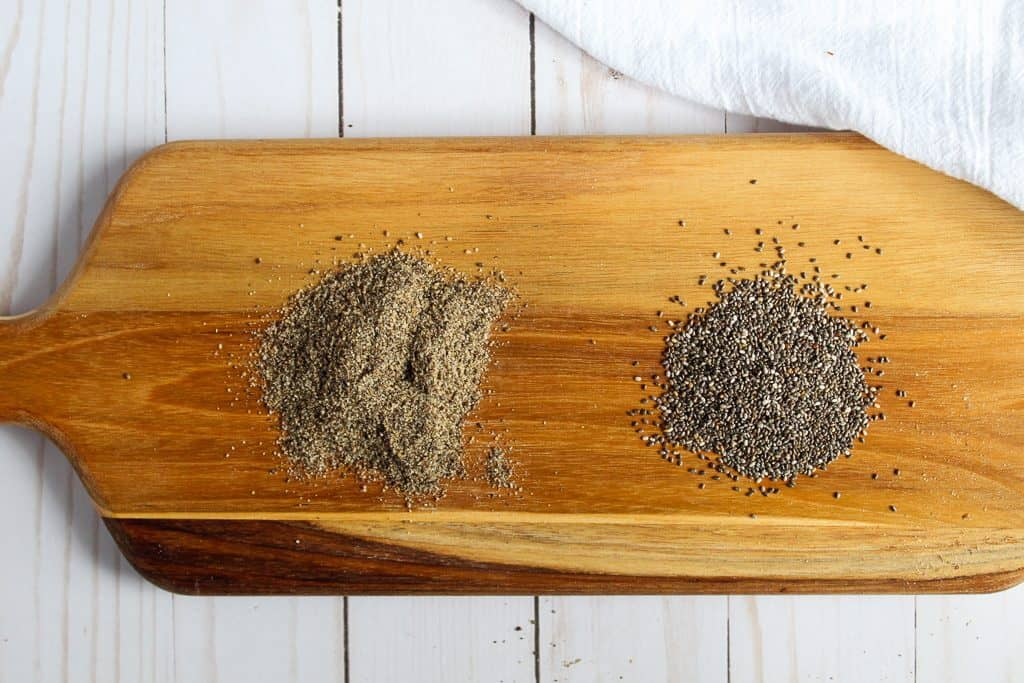 chia seeds on a wooden cutting board alternative to xanthan gum and guar gum.