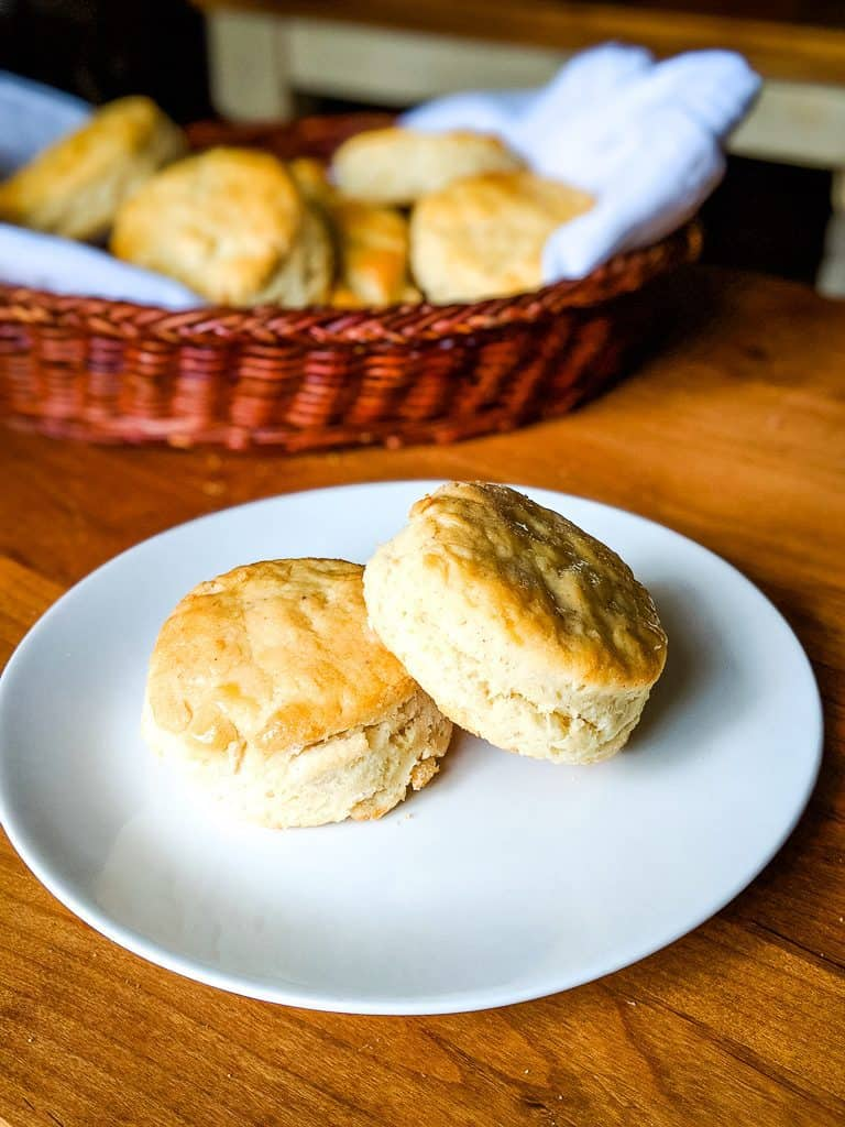 gluten free angel biscuits served on a white plate