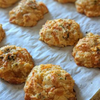 gluten free cheddar bay biscuits topped