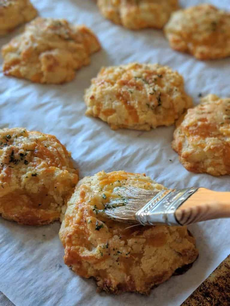 gluten free cheddar bay biscuits with topping
