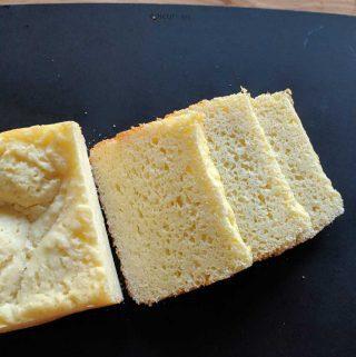 gluten free rice flour white bread bread machine sliced on a black board