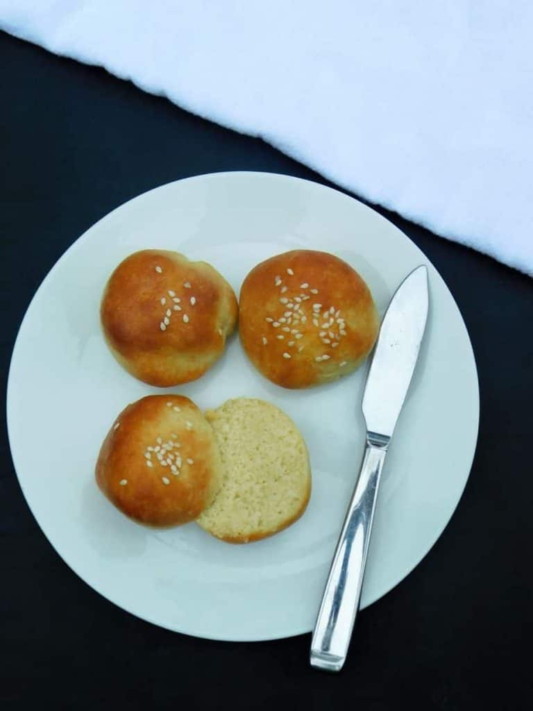 bite size gluten free rolls baked and sliced