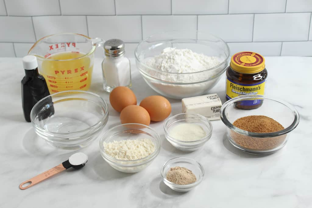 gluten free hawaiian bread ingredients on a counter