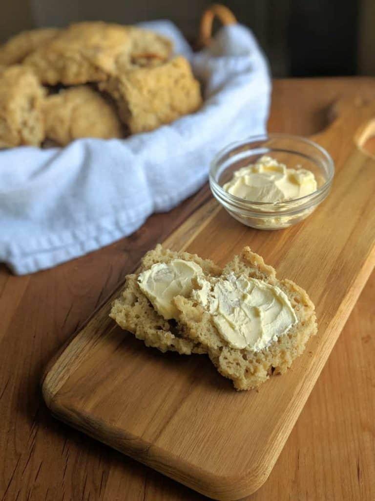 gluten free sourdough bead rolls with butter