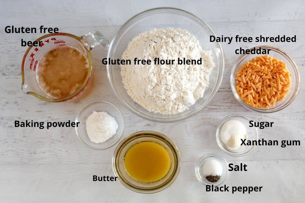 labeled ingredients on a counter