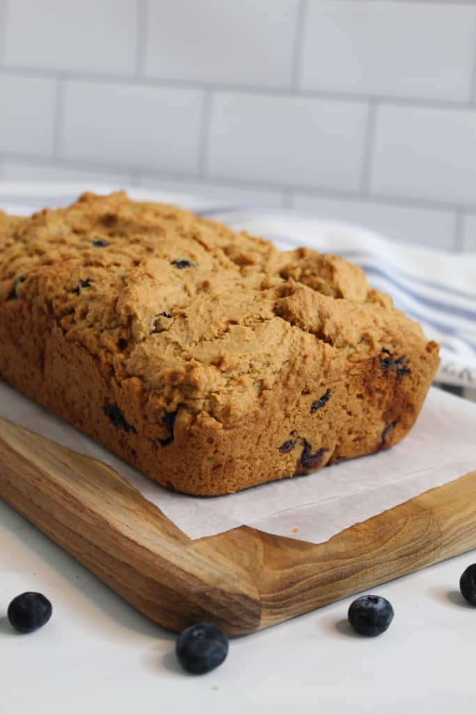 gluten free blueberry bread sitting on a counter
