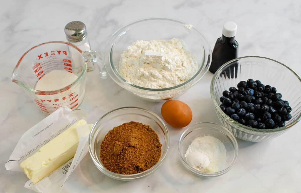 gluten free blueberry bread ingredients on a counter
