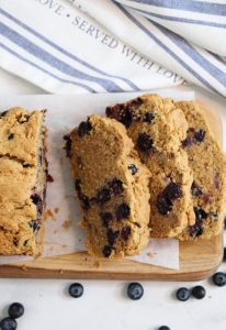 gluten free blueberry bread sliced on a counter