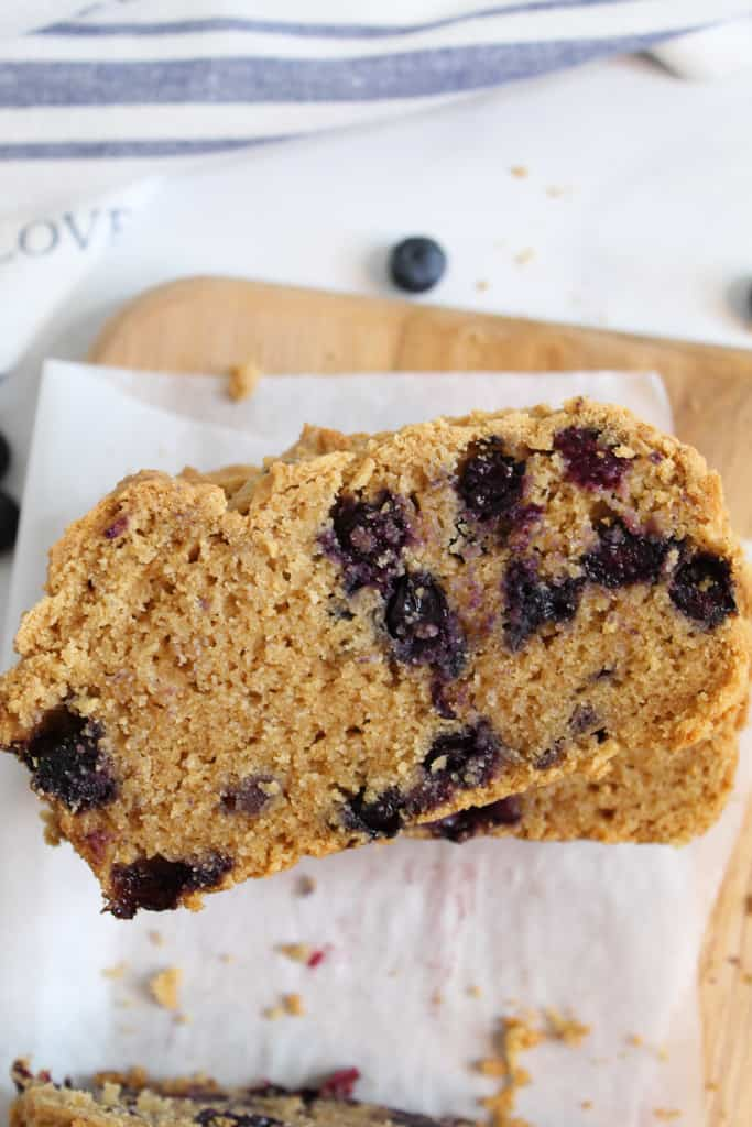 gluten free blueberry bread slices stacked