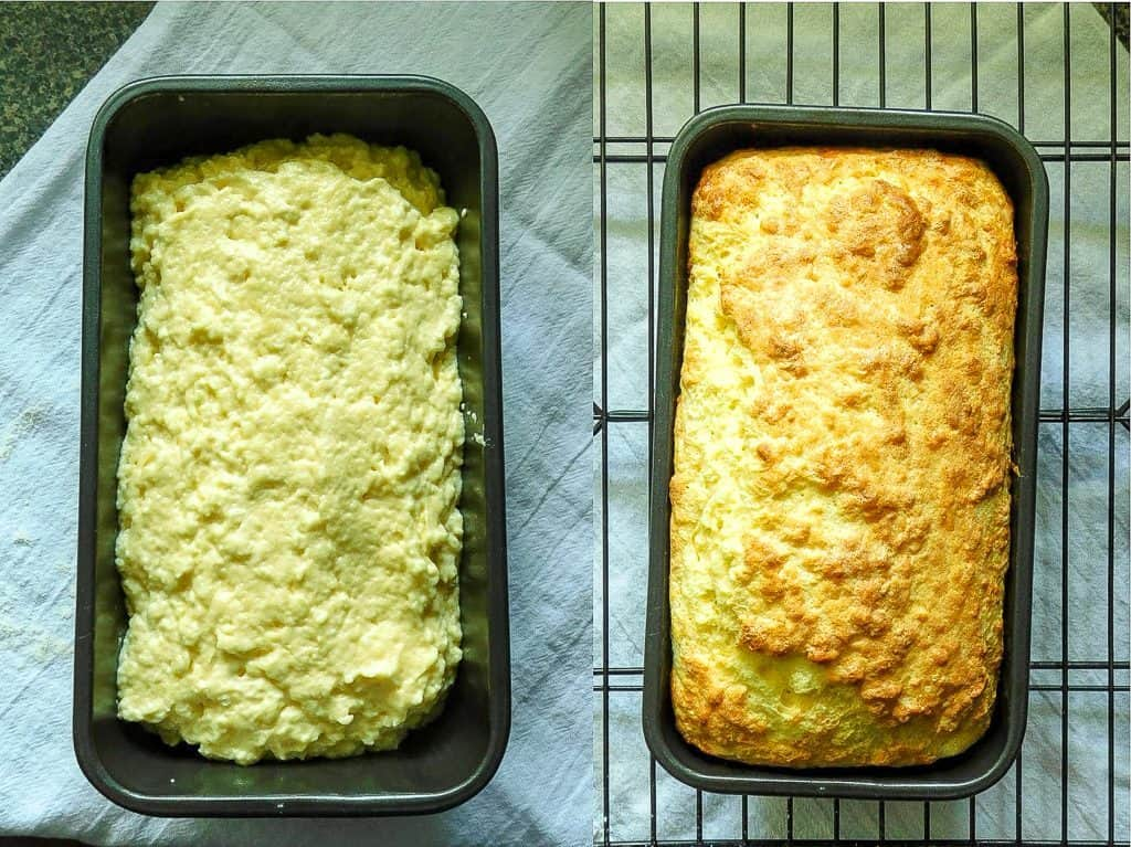 low carb bread unbaked and baked in baking pans side by side