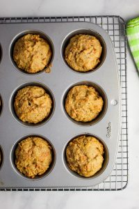 overhead shot of muffins baked in a tin