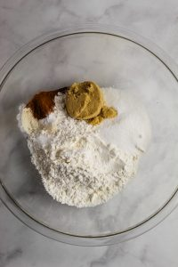 overhead shot of dry ingredients in a bowl