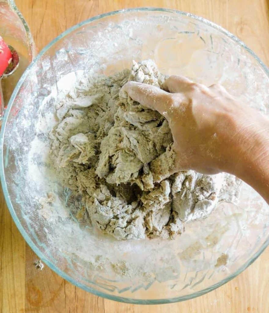 gluten free cinnamon raisin artisan bread kneading