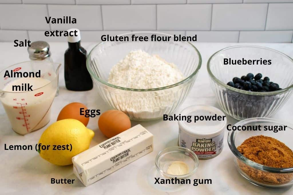 labeled ingredients picture for muffins