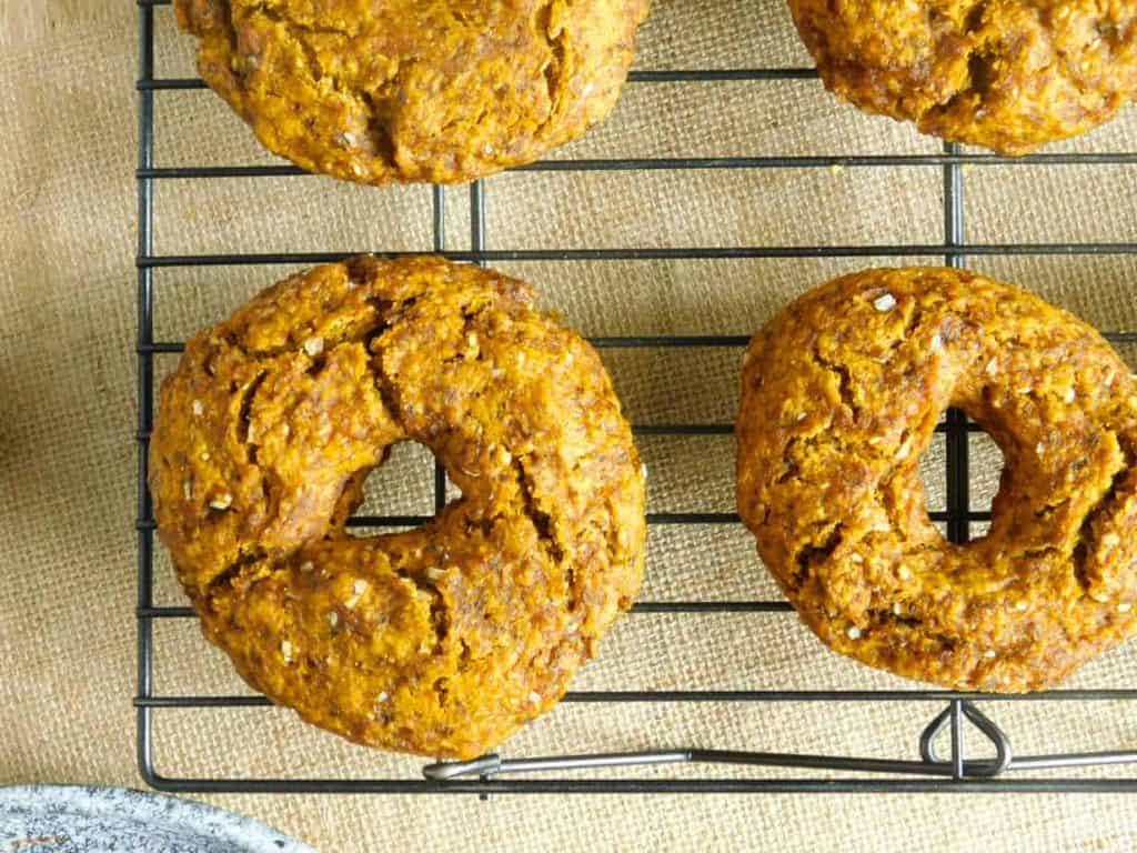 gluten free pumpkin bagels baked