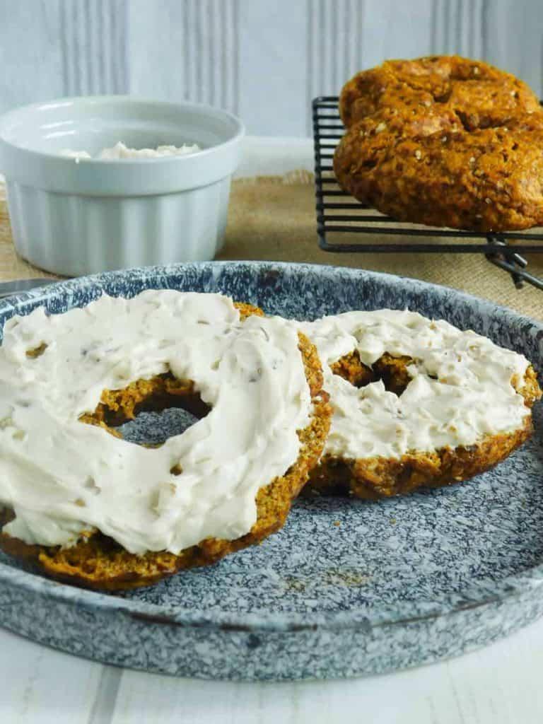 gluten free pumpkin bagels maple walnut cream cheese spread