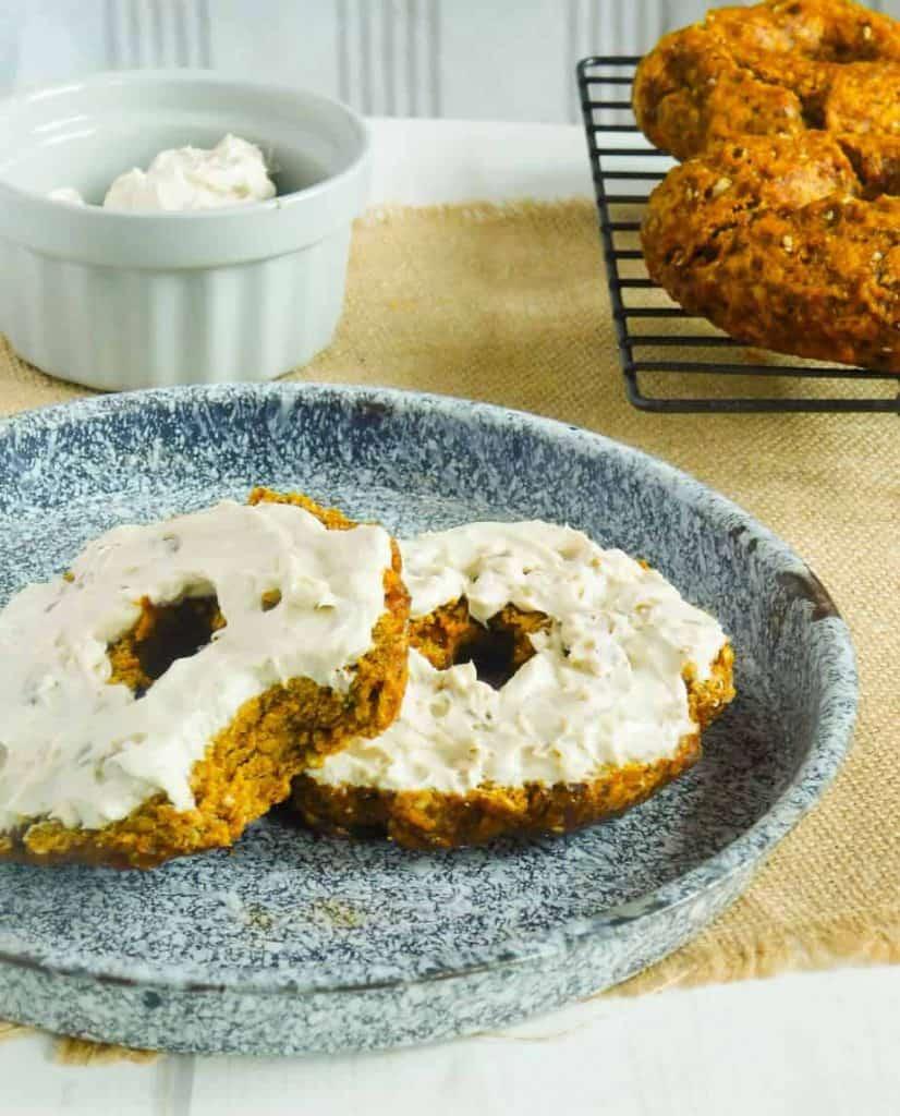 gluten free pumpkin bagels with maple walnut cream cheese