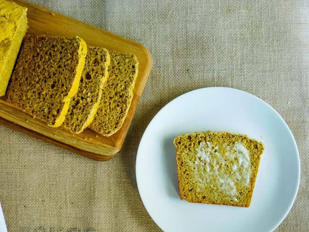gluten free pumpkin yeast bread slice