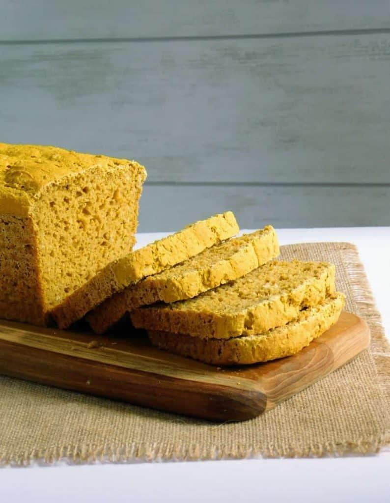 gluten free pumpkin yeast bread sliced