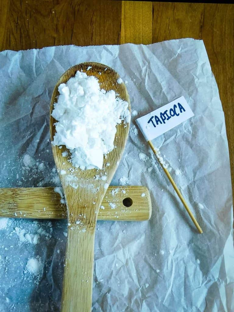 tapioca starch on a wooden spoon