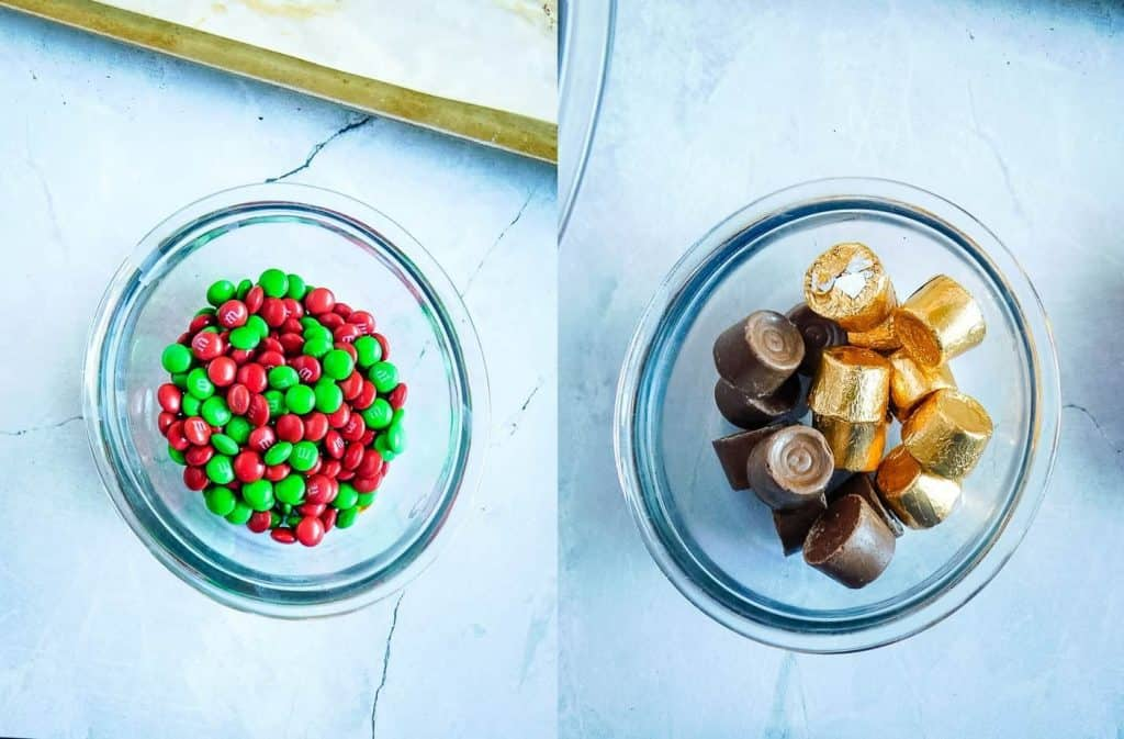 candy in a glass bowl on a counter