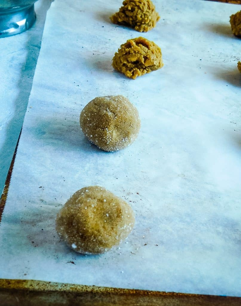 cookie dough rolled in white sugar