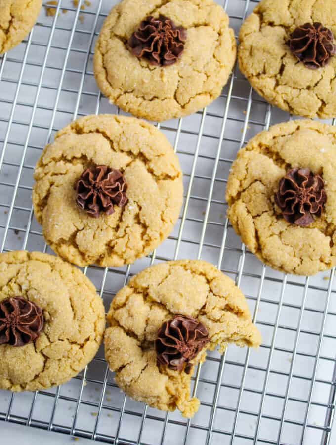 overhead shot of cookies on a rack