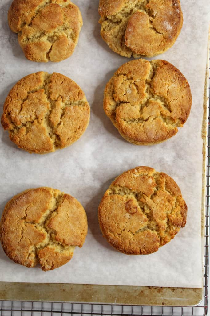Almond Flour Biscuits sitting on a baking sheet