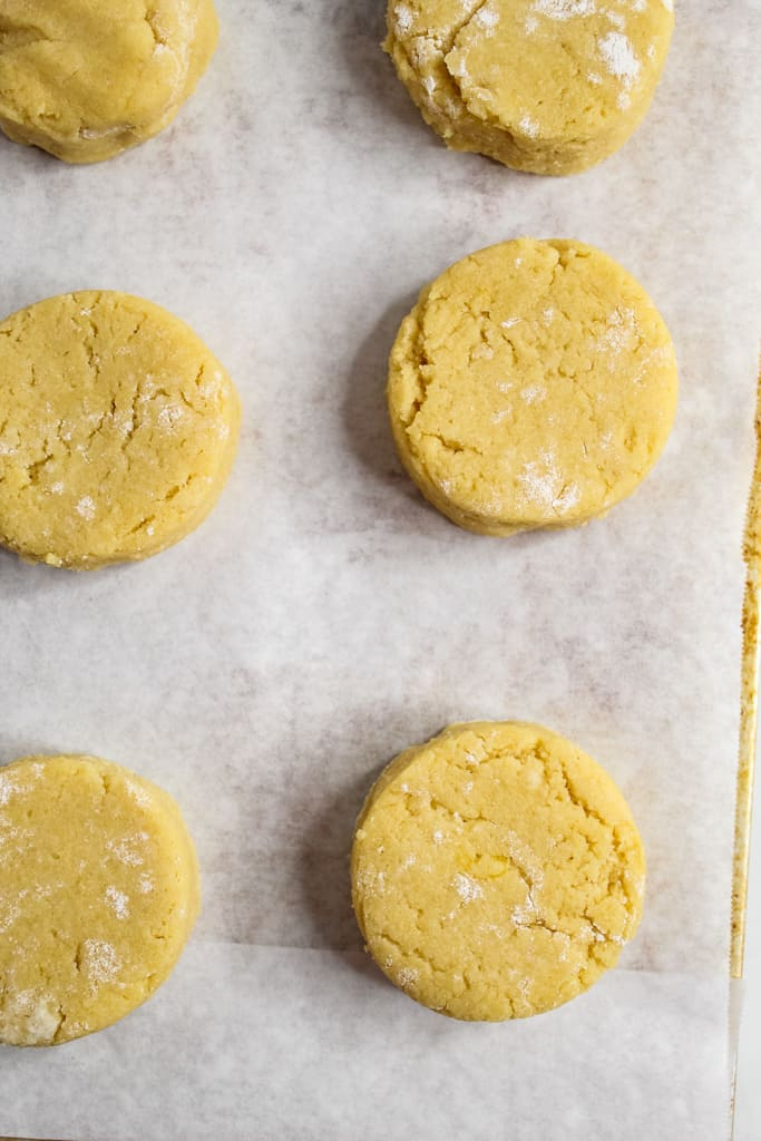 Almond Flour Biscuits cut out with a biscuit cutter