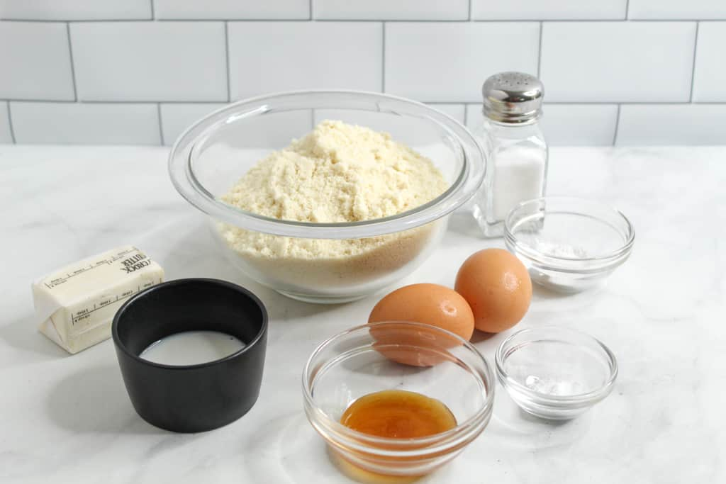 Almond Flour Biscuits ingredients on a countertop