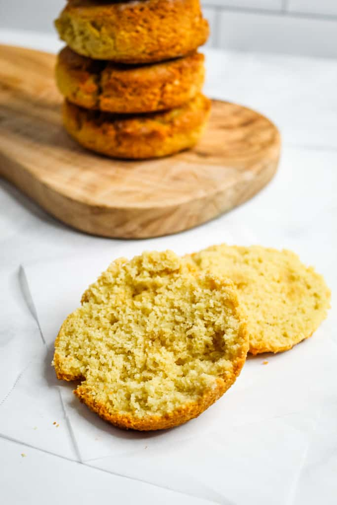 Almond Flour Biscuits baked and split open