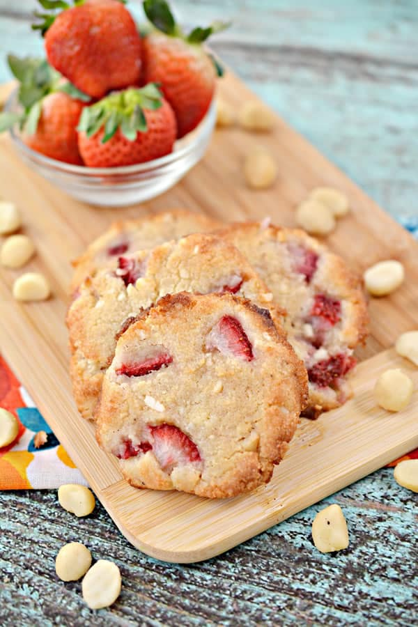 low carb strawberry cookie on a board