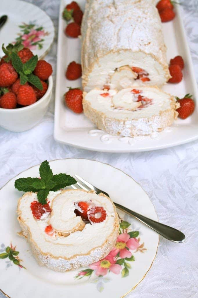 summer berry roulade on a serving plate