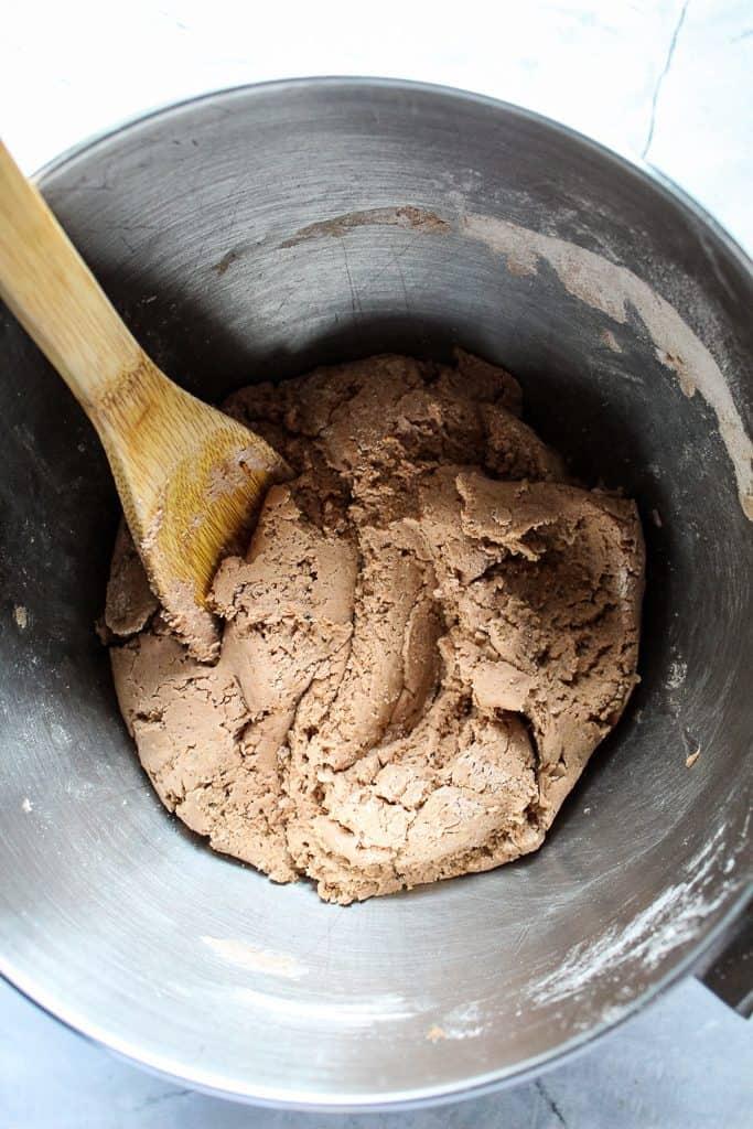 gluten free pumpernickel bread dough in a bowl
