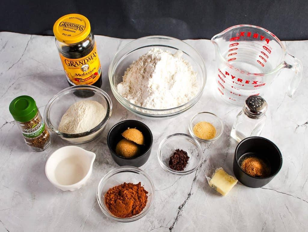 gluten free pumpernickel bread ingredients on a white counter